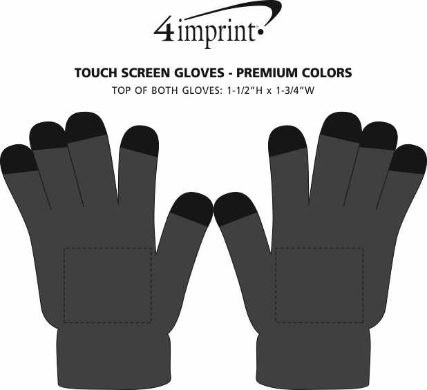 Imprint Area of Touch Screen Gloves - Premium Colors