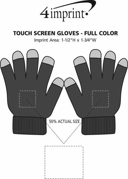 Imprint Area of Touch Screen Gloves - Full Color