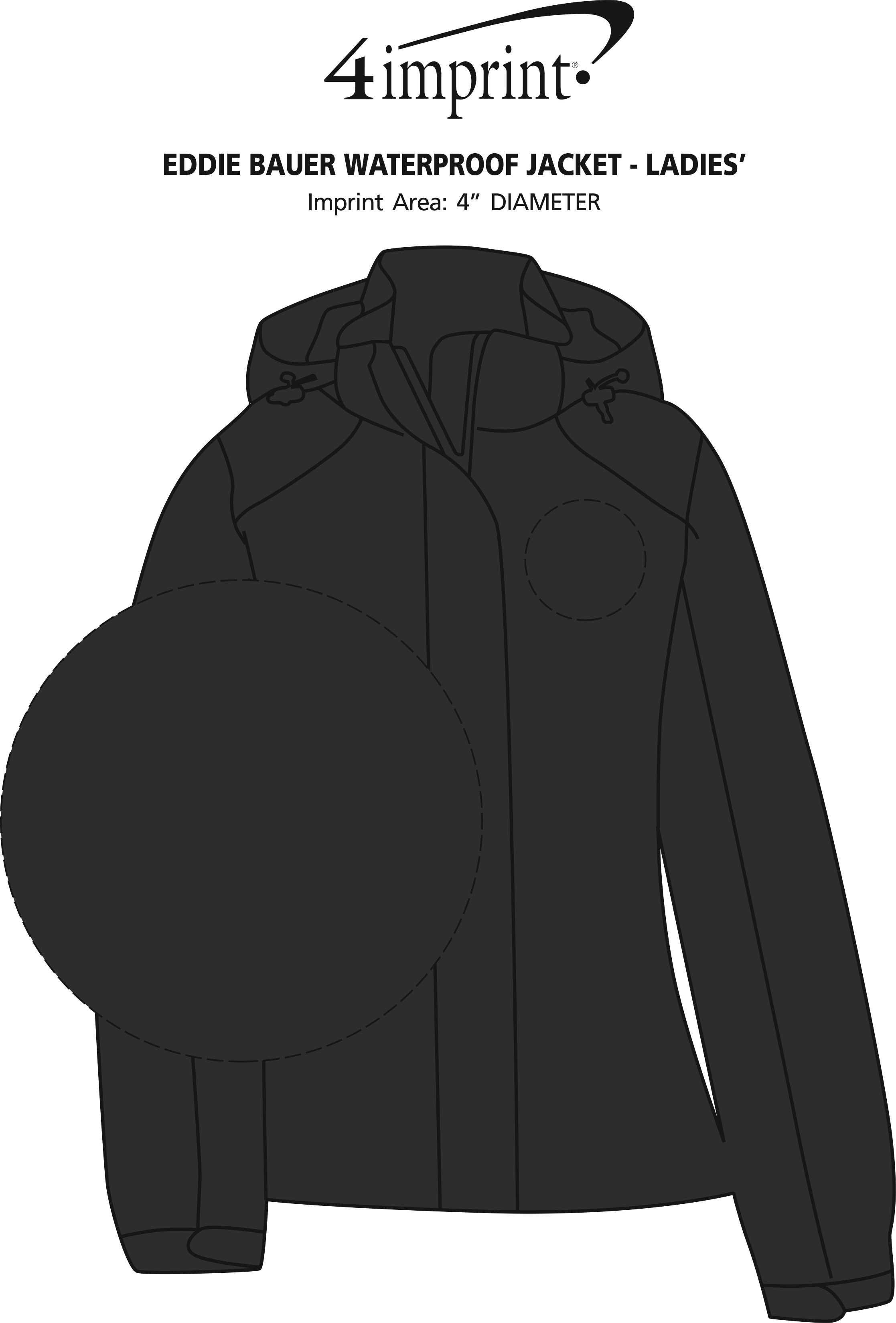 Imprint Area of Eddie Bauer Waterproof Jacket - Ladies'
