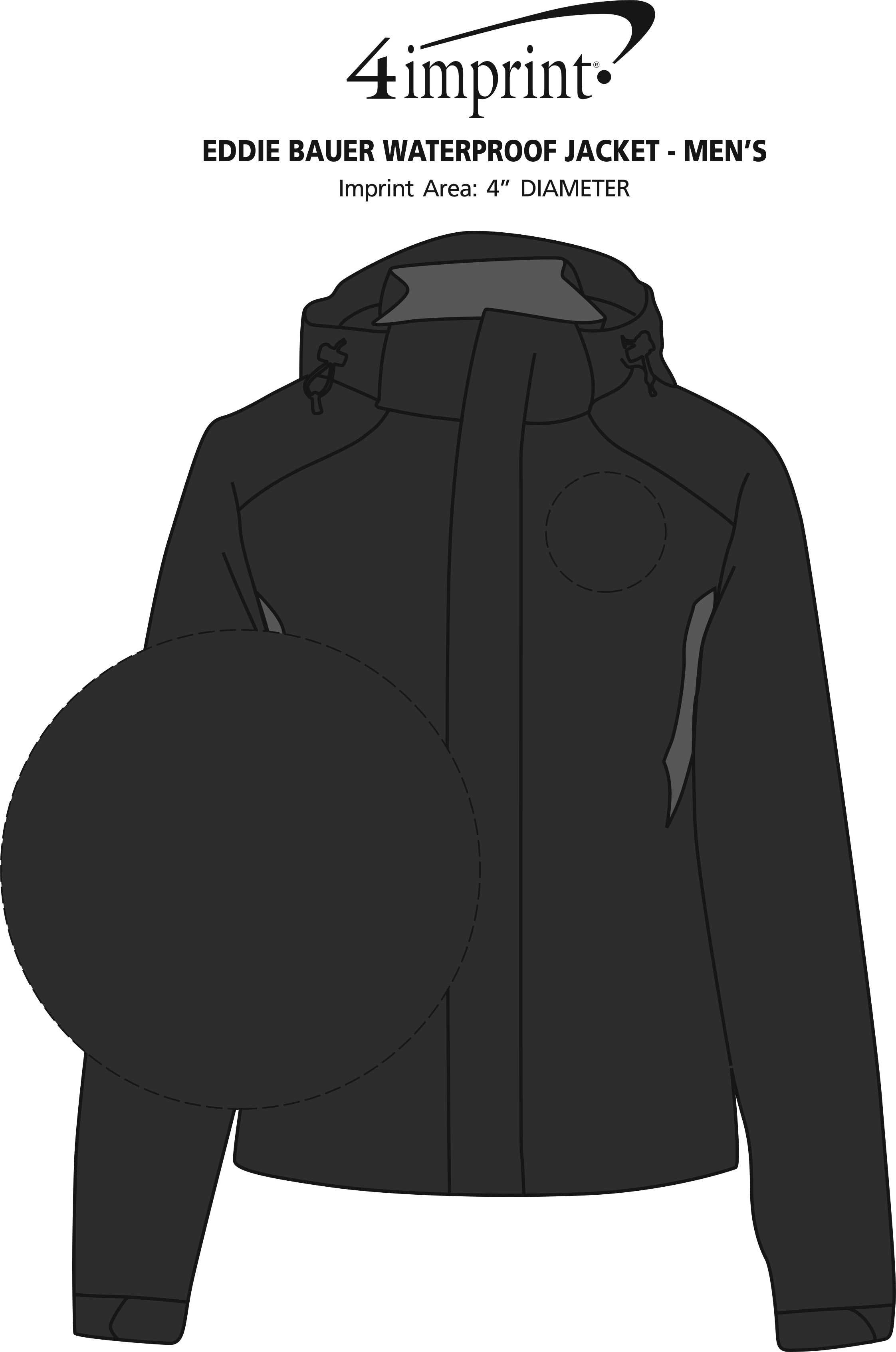Imprint Area of Eddie Bauer Waterproof Jacket - Men's
