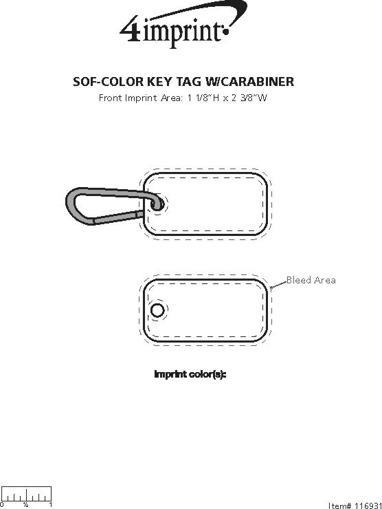 Imprint Area of Sof-Color Keychain with Carabiner