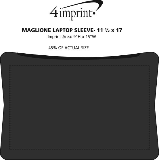 "Imprint Area of Maglione Laptop Sleeve - 11-1/2"" x 17"""