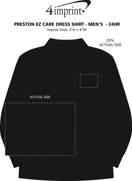 Imprint Area of Preston EZ Care Dress Shirt - Men's - 24 hr