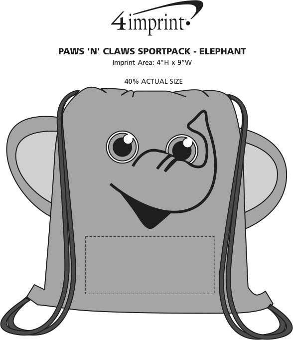 Imprint Area of Paws and Claws Sportpack - Elephant