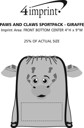 Imprint Area of Paws and Claws Sportpack - Giraffe