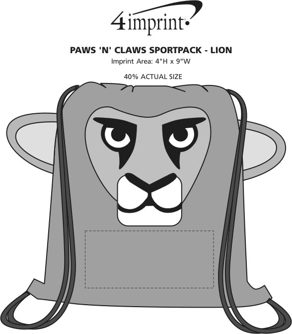 Imprint Area of Paws and Claws Sportpack - Lion
