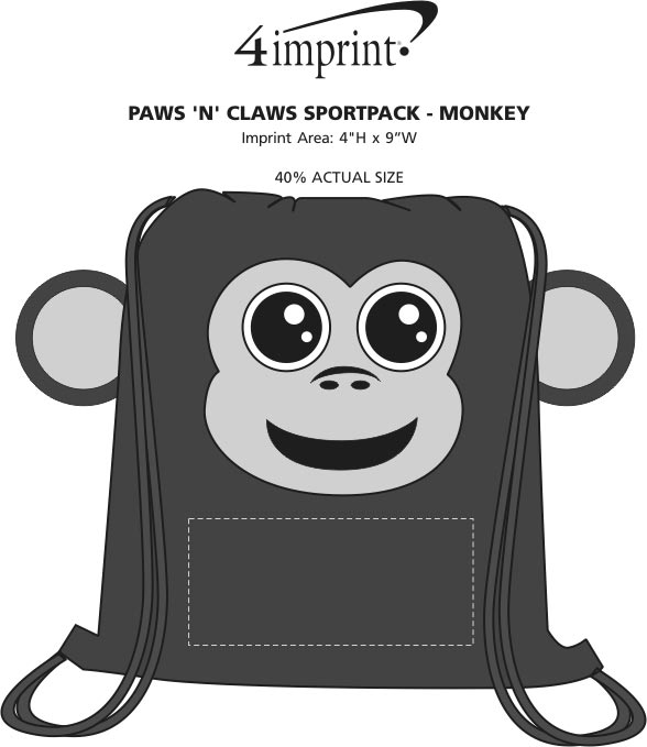 Imprint Area of Paws and Claws Sportpack - Monkey