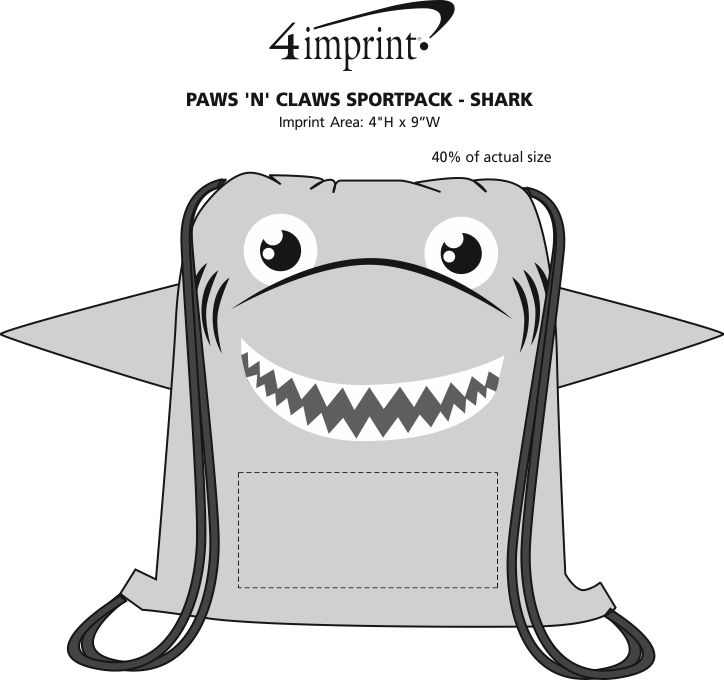 Imprint Area of Paws and Claws Sportpack - Shark