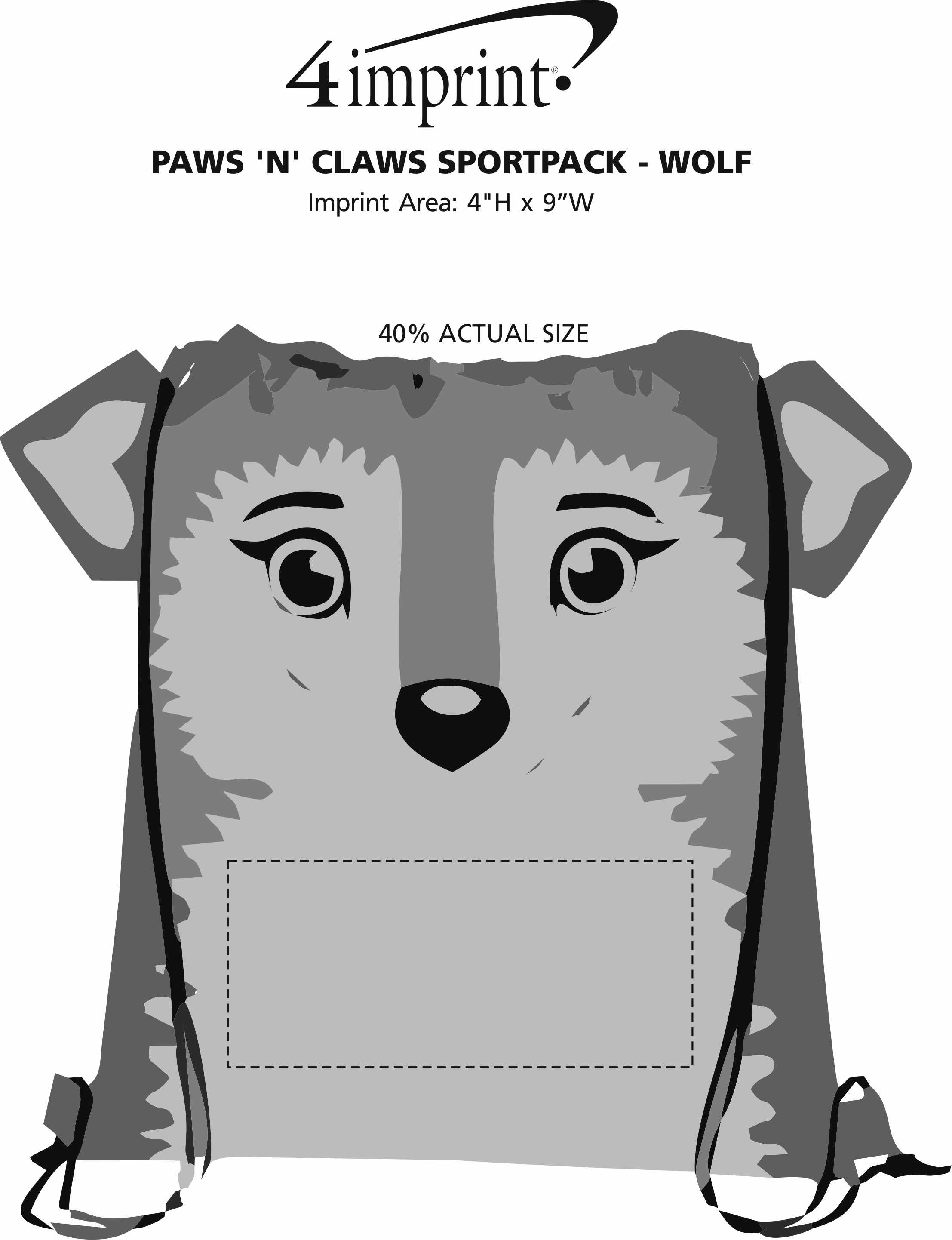Imprint Area of Paws and Claws Sportpack - Wolf