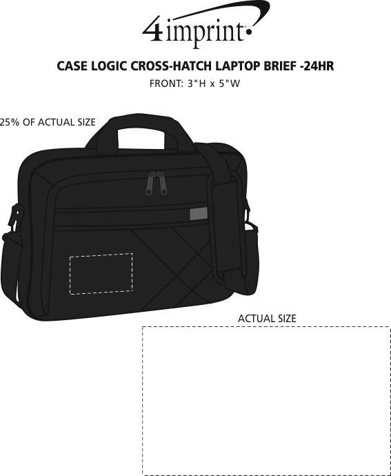 Imprint Area of Case Logic Cross-Hatch Laptop Brief - 24 hr