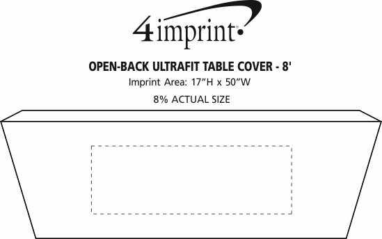Imprint Area of Hemmed Open-Back UltraFit Table Cover - 8'