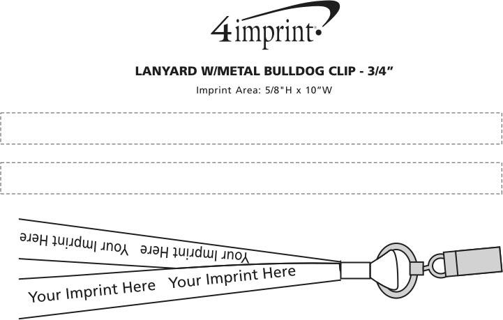 """Imprint Area of Lanyard with Metal Bulldog Clip - 3/4"""""""