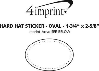 "Imprint Area of Hard Hat Sticker - Oval - 1-3/4"" x 2-5/8"""