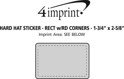 """Imprint Area of Hard Hat Sticker - Rectangle with Round Corners - 1-3/4"""" x 2-5/8"""""""