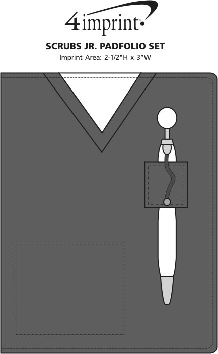 Imprint Area of Scrubs Jr. Padfolio Set