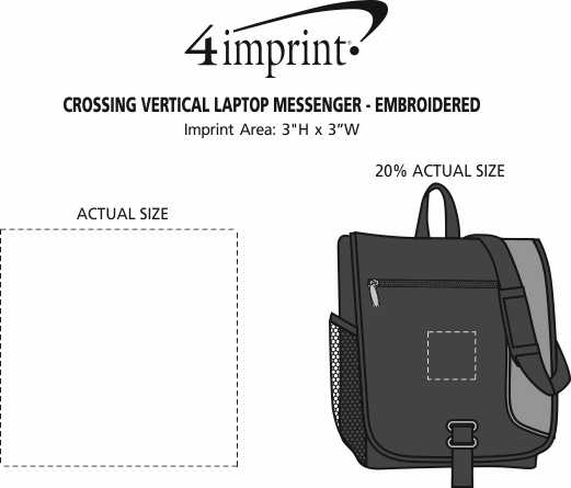 Imprint Area of Crossing Vertical Laptop Messenger - Embroidered