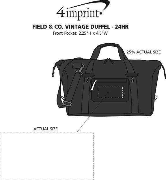 Imprint Area of Field & Co. Vintage Duffel - 24 hr