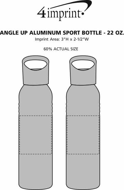 Imprint Area of Angle Up Aluminum Sport Bottle - 22 oz.