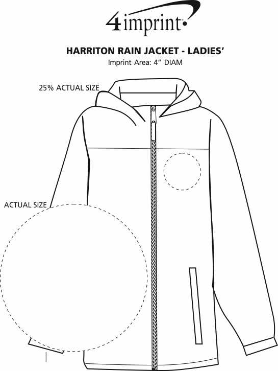 Imprint Area of Harriton Rain Jacket - Ladies'