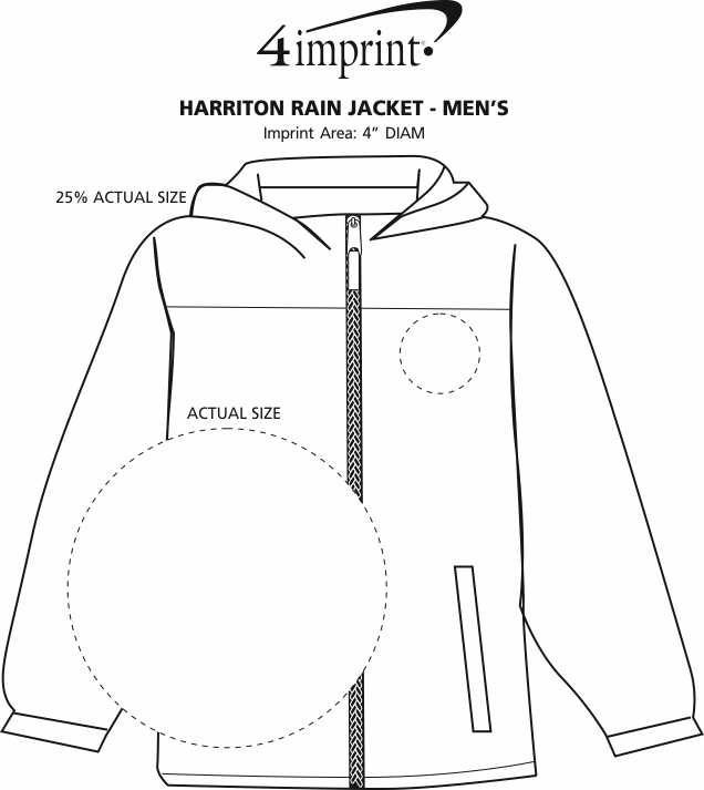 Imprint Area of Harriton Rain Jacket - Men's