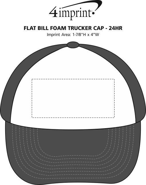 Imprint Area of Flat Bill Foam Trucker Cap - 24 hr