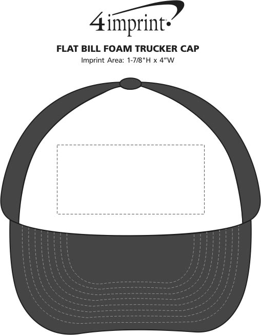 Imprint Area of Flat Bill Foam Trucker Cap