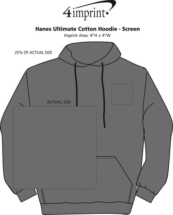 Imprint Area of Hanes Ultimate Cotton Hoodie - Screen