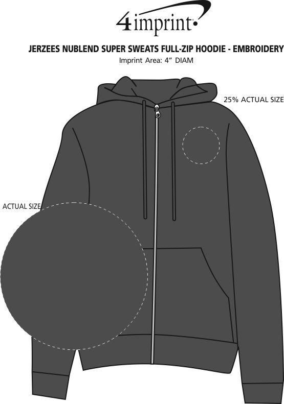 Imprint Area of Jerzees Nublend Super Sweats Full-Zip Hoodie - Embroidered