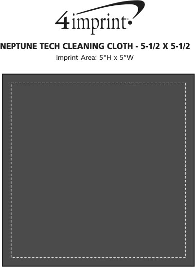 "Imprint Area of Neptune Tech Cleaning Cloth - 5-1/2"" x 5-1/2"" - Colors"