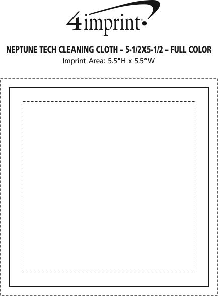 """Imprint Area of Neptune Tech Cleaning Cloth - 5-1/2"""" x 5-1/2"""" - Full Color"""