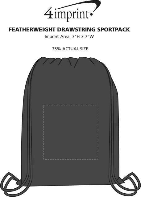 Imprint Area of Featherweight Drawstring Sportpack