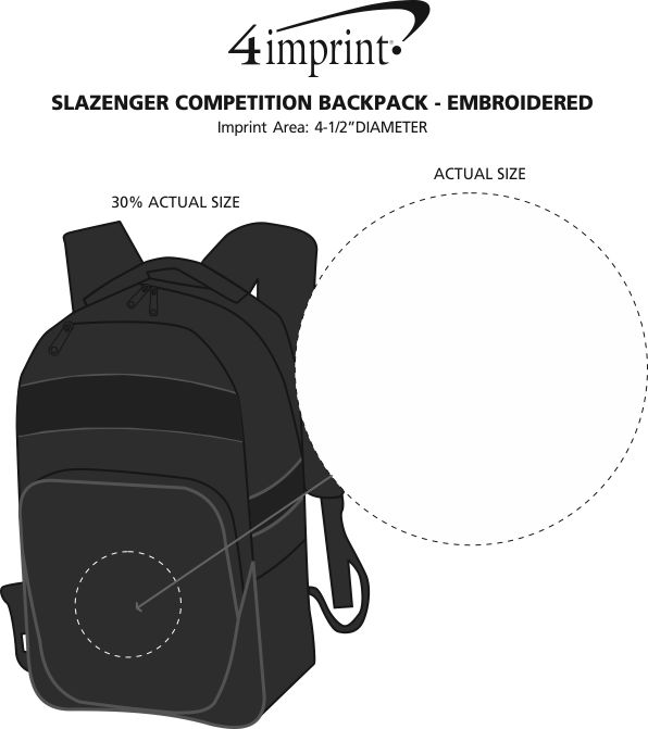 Imprint Area of Slazenger Competition Backpack - Embroidered