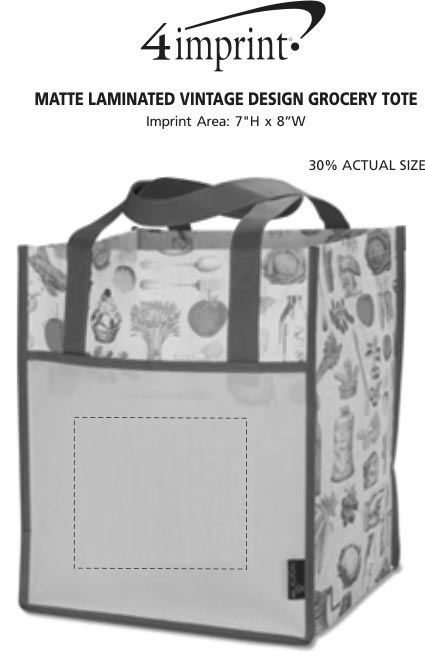 Imprint Area of Matte Laminated Vintage Design Grocery Tote