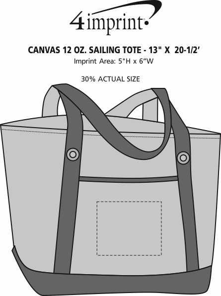 "Imprint Area of Canvas 12 oz. Sailing Tote - 13"" x 20-1/2"""