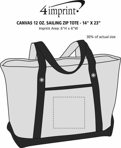 """Imprint Area of Canvas 12 oz. Sailing Zip Top Tote - 14"""" x 23"""""""