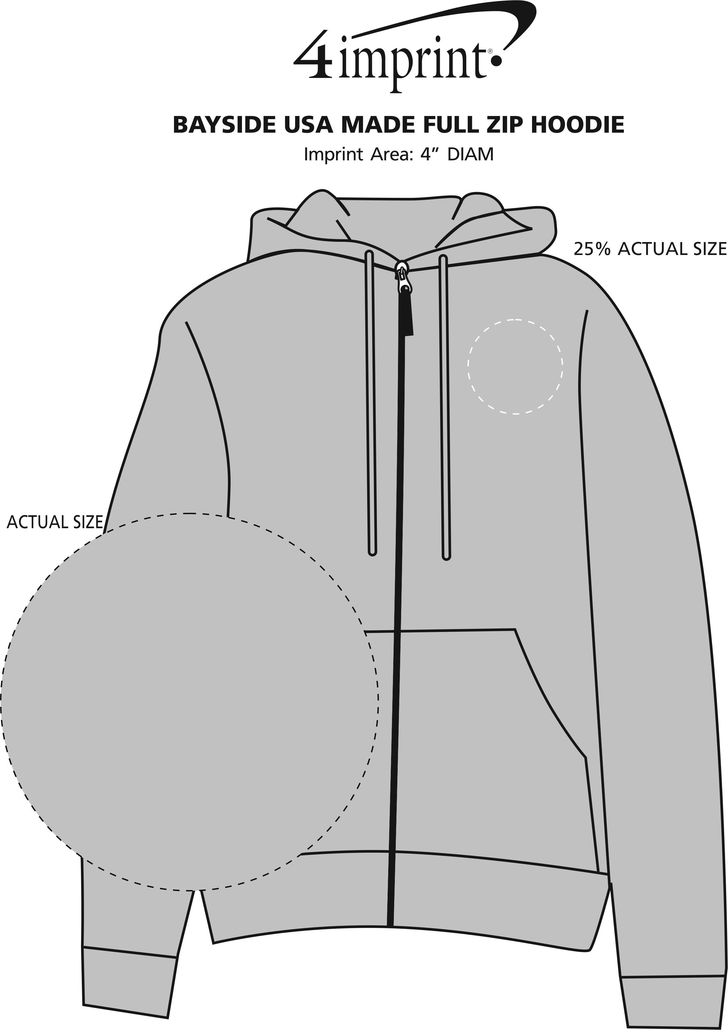 Imprint Area of Bayside USA Made Full-Zip Hoodie - Embroidered