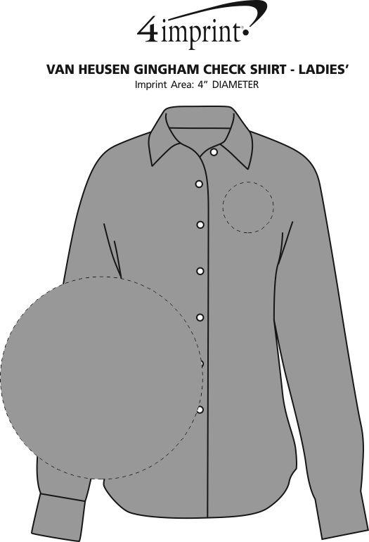 Imprint Area of Van Heusen Gingham Check Shirt - Ladies'