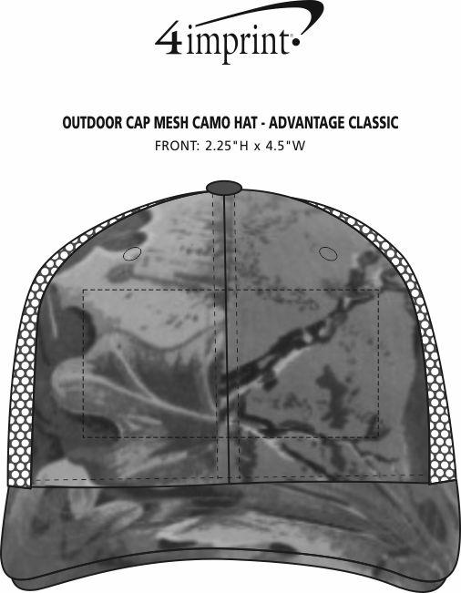 Imprint Area of Outdoor Cap Mesh Camo Hat - Advantage Classic
