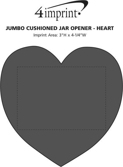 Imprint Area of Jumbo Cushioned Jar Opener - Heart