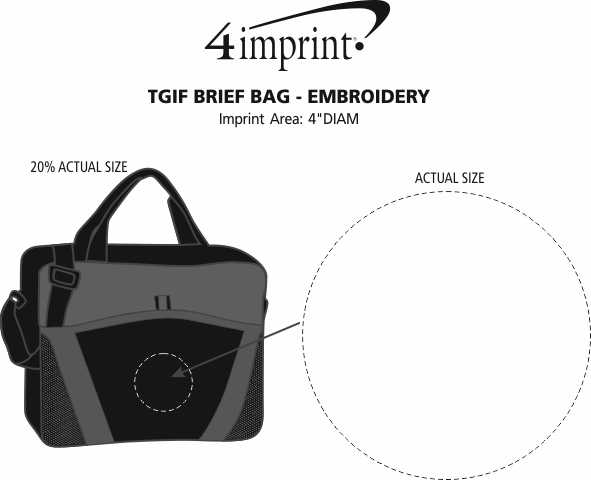 Imprint Area of TGIF Brief Bag - Embroidered