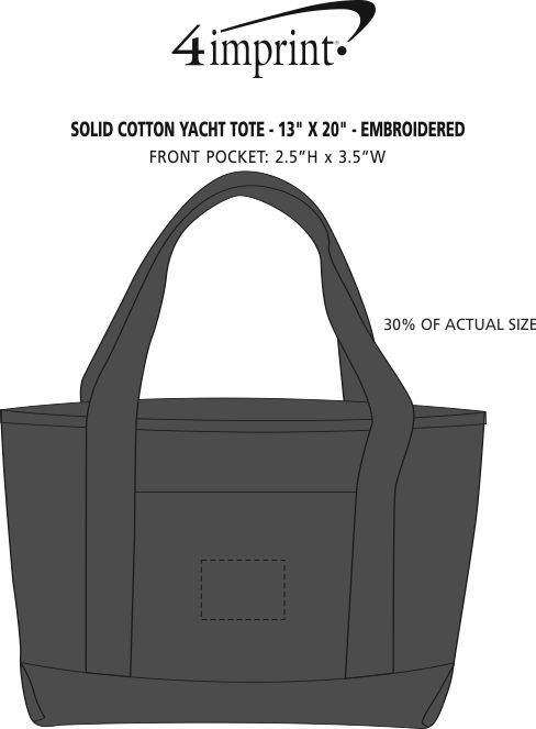 """Imprint Area of Solid Cotton Yacht Tote - 13"""" x 20"""" - Embroidered"""