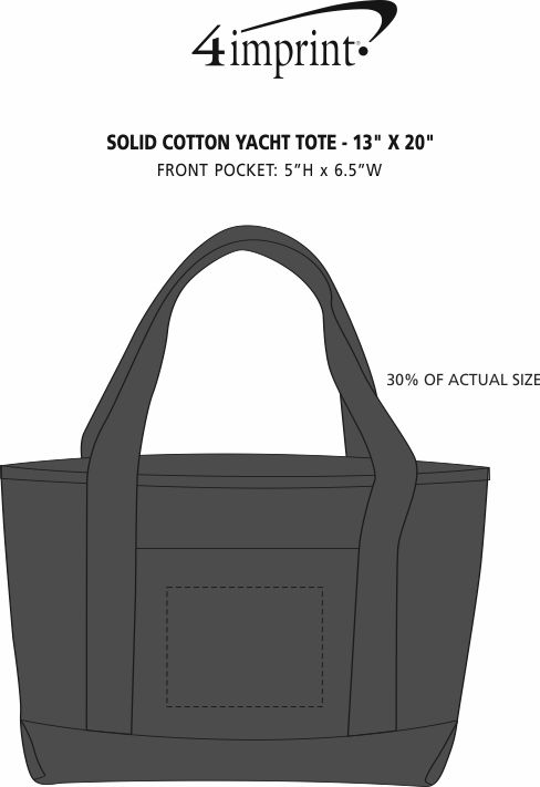 """Imprint Area of Solid Cotton Yacht Tote - 13"""" x 20"""""""