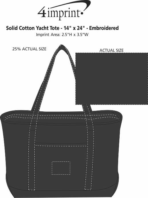 "Imprint Area of Solid Cotton Yacht Tote - 14"" x 24"" - Embroidered"