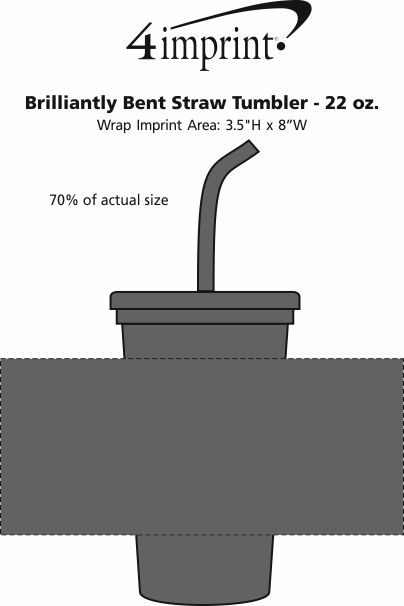 Imprint Area of Brilliantly Bent Straw Tumbler - 22 oz.