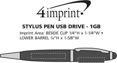 Imprint Area of Stylus Pen USB Drive - 1GB