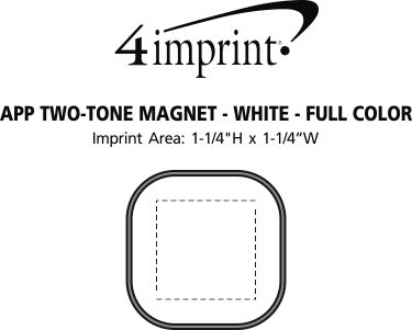 Imprint Area of App Two-Tone Magnet - White - Full Color