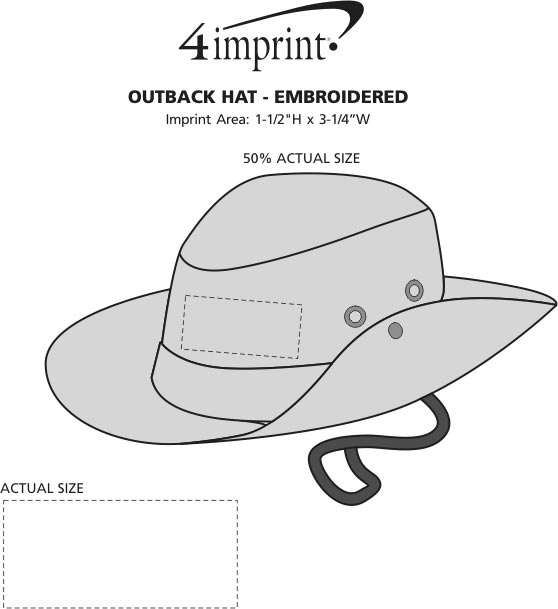 Imprint Area of Outback Hat - Embroidered