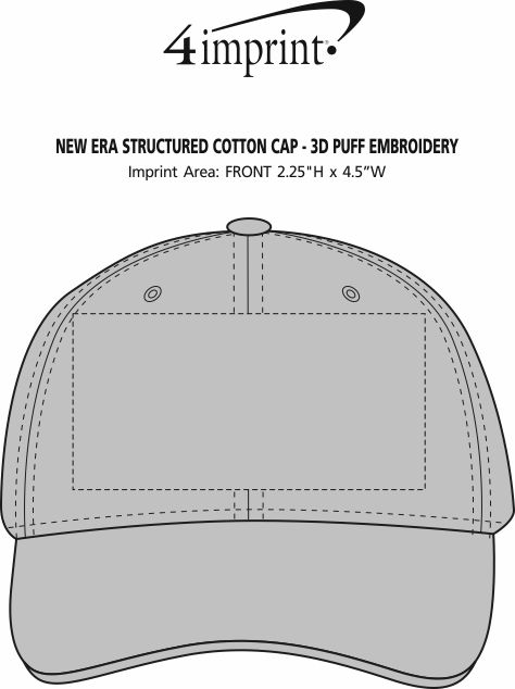 Imprint Area of New Era Structured Cotton Cap - 3D Puff Embroidery