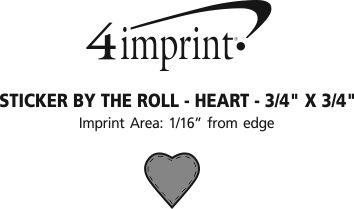 """Imprint Area of Sticker by the Roll - Heart - 3/4"""" x 3/4"""""""