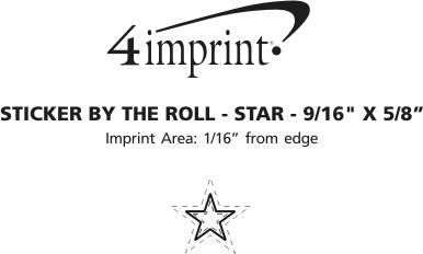 "Imprint Area of Sticker by the Roll - Star - 9/16"" x 5/8"""